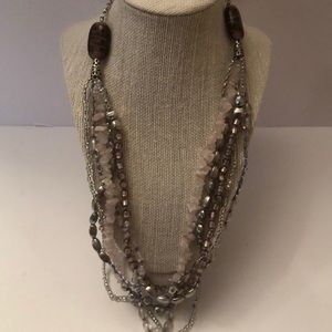 Vintage long multi strand beads & stone necklace